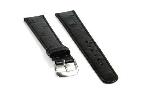Straußennarbung Uhrenarmband in der Farbe schwarz