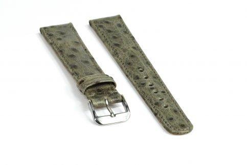 Straußennarbung Uhrenarmband grau