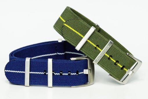 dehnbare Nato Armbänder in den Farben blau und grün