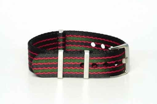 Seatbelt Uhrenarmband in den Farben schwarz, rot und grün