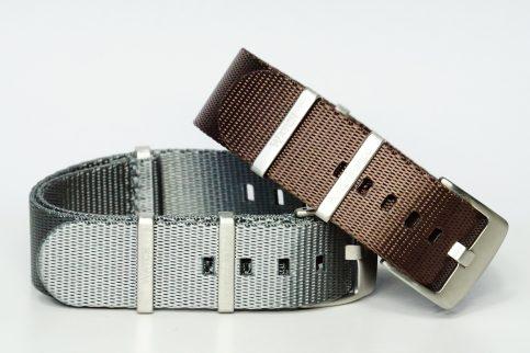 Seatbelt Uhrenarmbänder in den Farben grau und braun