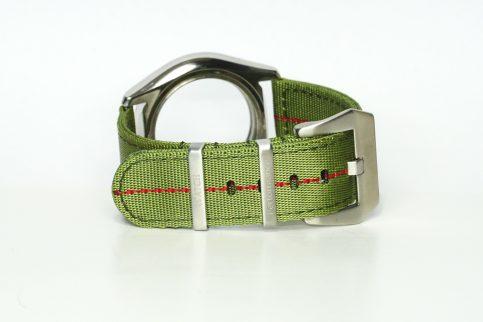 Seatbelt Uhrenarmband in den Farben grün und rot